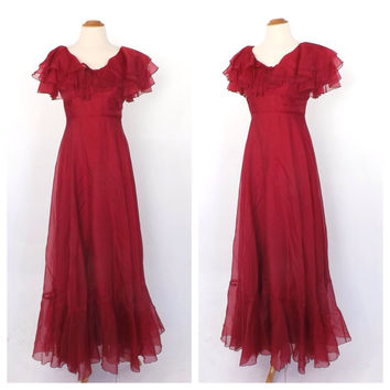 Vintage 1970s Rose Red Southern Belle Bridesmaid Prom Dress Chiffon Princess Gown 70s Little Bo Beep Dress Maxi Gone with the Wind Dress