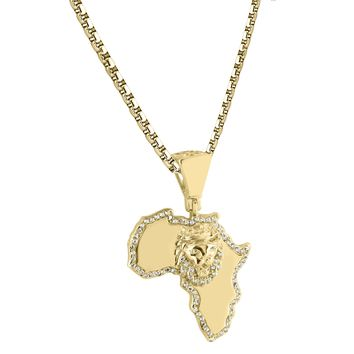 Africa Map Pendant African Lion 14k Gold Finish Iced Out Sterling Silver