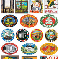 17 International Travel Clip Art - Vintage Luggage Labels -  Retro Digital Collage Sheet Download - Vintage Suitcase Stickers - 007
