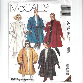 McCall's 5645 Pattern for Misses' Lined Coat, Unlined Cape, 2 Lengths, Size 10-12, From 1991, Most UNCUT, Vintage Pattern, Home Sew Pattern