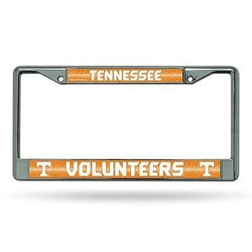 Tennessee Volunteers NCAA Glitter Bling Chrome License Plate Frame Car Truck