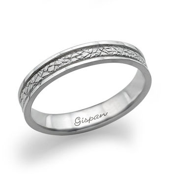 14K Wedding Ring White Gold With Unique texure,Handmade Solid Gold Ring With Stone Texture