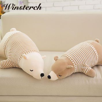 2017 New lovely Polar bear 1PC 35cm/50cm plush toy Cute bear throw pillow, baby toy ,birthday gift Stuffed Animals Dolls WW175