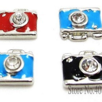 "10PCS!! 8MM ""Camera"" Floating charms Mix Color ,Fit Floating lockets & Floating locket bracelet , LSFC076*10"