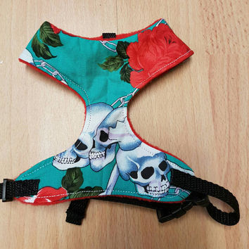 Rockabilly skull rock pup..handmade dog adjustable  harness super cute bespoke harness x small dog/cat ... dog accessories
