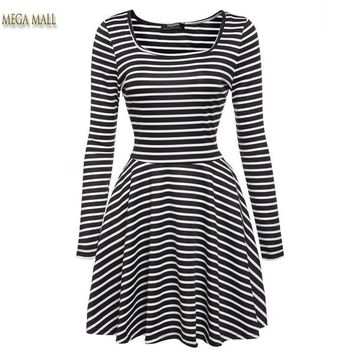 Women's Square Neck Long Sleeve Dress Winter Dresses Women 2016 Casual Striped Fit and Flare Swing Pleated Dress Robe Femme NS9