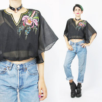 70s Hand Painted Blouse Black Cropped Blouse Floral Crop Top Draped Sheer Black Cotton Blouse Boho Gypsy Festival Midriff Shirt (XS/S/M)