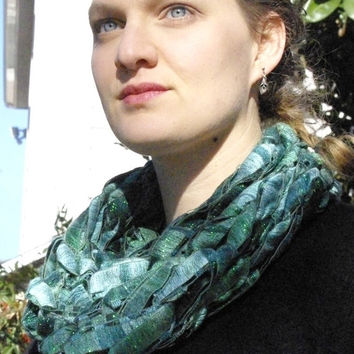 Green Infinity Scarf with Metallic threads for Sparkle and Shine: Holiday Emerald Ribbons