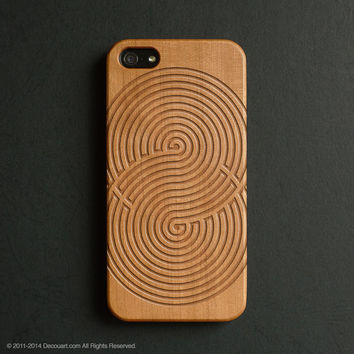 Real wood engraved infinity pattern iPhone case S002