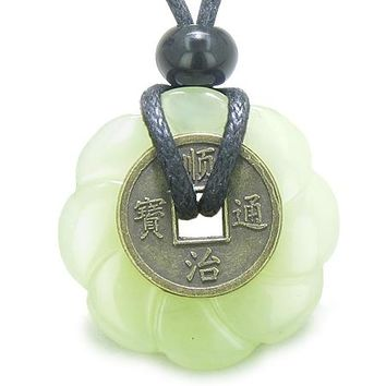 Antique Lucky Coin Celtic Lotus Flower Amulet Evil Eye Protection Green Jade 30mm Donut Necklace