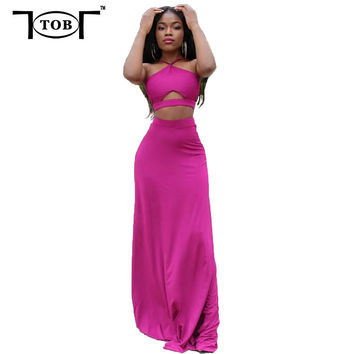 TOB 2016 summer women long dress 2 piece sets sexy club solid rose bandage women clothing crop top hollow out maxi dresses PT183