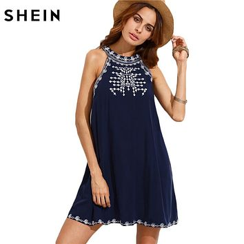 Women Summer Casual Short Dresses Ladies Navy Embroidered Cut Out Tie Back Round Neck Sleeveless Shift Dress
