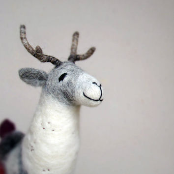 Vilmar - Felt Reindeer. Art Puppet Marionette Stuffed Animal Felted Toy. pastel silver grey soft white neutral pastel. MADE TO ORDER