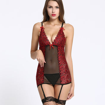 Sexy costumes Jacquard suspenders sexy lingerie nightgowns lenceria sexy underwear Exotic Apparel women slips intimates hot