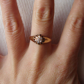Antique Engagement Ring, Seven Diamond 18k Gold Ring, c.1910 Vintage Old Gold and Diamond Ring Size US 6.5