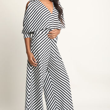 Striped Dolman Sleeve Palazzo Jumpsuit | UrbanOG