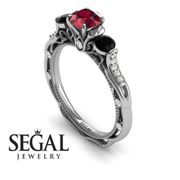 Unique Engagement Ring 14K White Gold Art Deco Victorian Ring Edwardian Ring Ruby With Black Diamond - Elizabeth