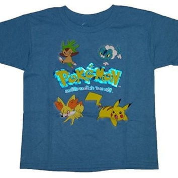 Pokemon Catch 'Em All Boys T-shirt (Turquoise, Large 10/12)