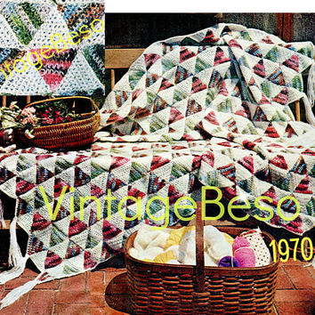 "INSTANT DOWNlOAD - PdF Pattern - Afghan Crochet PATTERN Vintage 1970s Triangle ""Quilt"" Patchwork Afghan Retro Crochet Pattern Motif Style"