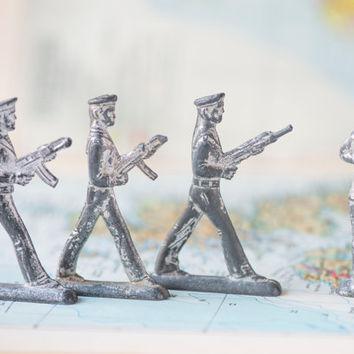 Vintage tiny soldiers, pewter toys set 4, Soviet naval and foot infantry toys, collectable grey toys USSR, Soviet soldiers toys rare