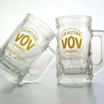 Set of two 1970s glasses for VOV traditional Italian egg liqueur - Liqueur glass - Bar accessory - Italian glasses * Read the recipe here!