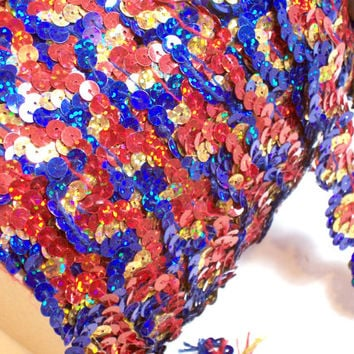 Red, Blue, and Gold Sequin Lace 1 inch wide x 3 yards, Holograph Sequin Trim
