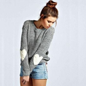 Day-First™ Gray Heart Print Elbow Knitted Sweater