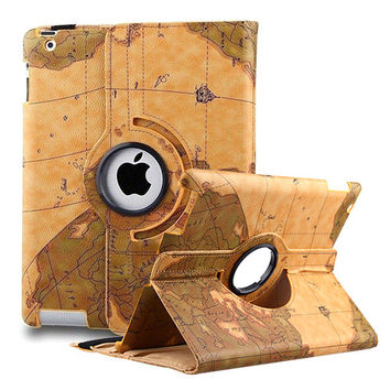World Map Design PU Leather iPad Case with 360 Rotating Stand