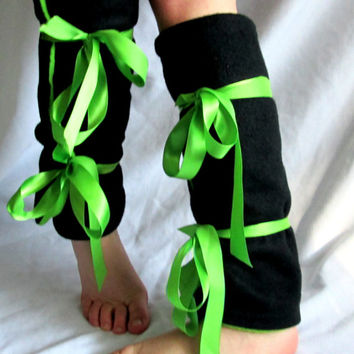 Rave Leg Warmers - Punk Leg Warmers - Japanese Street Fashion - Fleece Leg Warmers - Wrap Around with Ribbons - Black and Green