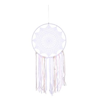 White Flower Dream Catcher Decor Handmade Dreamcatcher Net with Lace Tassel for Wall Hanging Car Home Decor Mascot Gifts