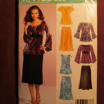 SALE Uncut Simplicity New Look Sewing Pattern, 6546! 6-8-10-12-14-16-18 Small/Medium/Large/Women's/Misses/ Flared Skirts/Flared Sleeve Blous
