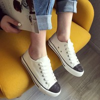 Fashion Polishing Ironstone Canvas Sneakers Shoes