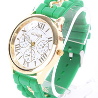 Green Rubber Strap High Polish Trim Round Face Watch