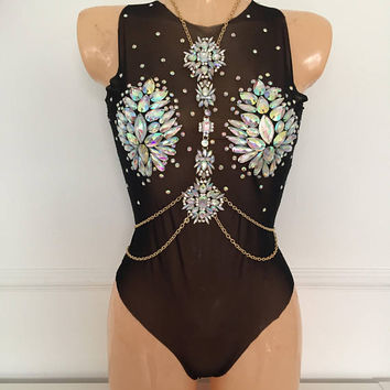 Black mesh bodysuit with crystal gems and detachable necklace