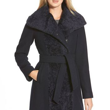 Women's Vince Camuto Faux Fur Trim Wool Blend Wrap Coat,