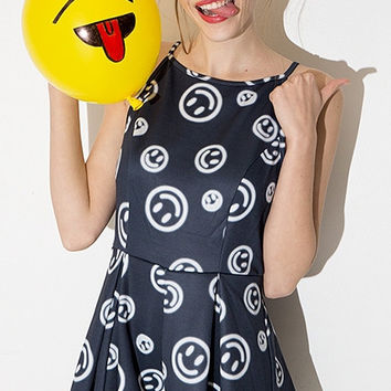Grey Smiley Print Spaghetti Strap Pleated Romper