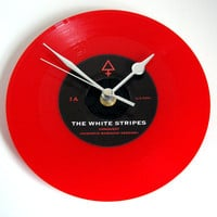 "The White Stripes CLOCK made from a recycled 7"" single in RED coloured vinyl. Conquest. Mariachi. Rock Clock."