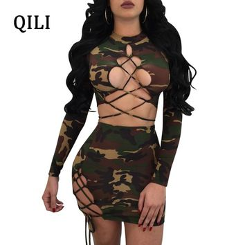 QILI Lace Up Summer Dress Camouflage Print Two Piece Set Bandage Hollow Out Sexy Bodycon Dresses Long Sleeve Short Wrap Femme