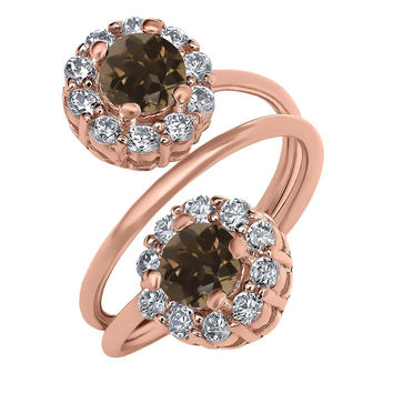 1.52 Ct Round Brown Smoky Quartz 18K Rose Gold Plated Silver Ring