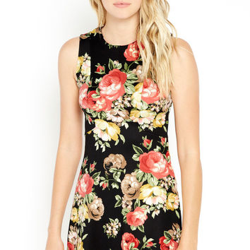 Floral Bouquet Sleeveless Sheath Dress