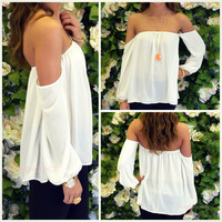 Melrose Ivory Off Shoulder Chiffon Top