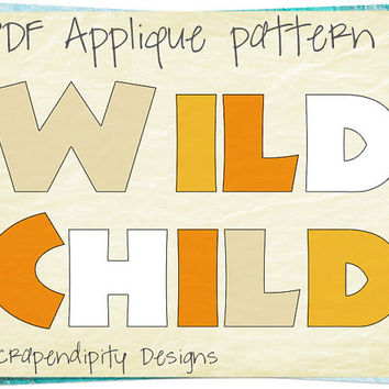 Jungle Applique Pattern - Wild Child Applique Template / Jungle Quilt Pattern / Kids Girls Clothing Tops / Nursery Wall Hanging AP197