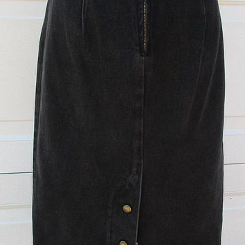 Black Denim Skirt 90s High Waist Maxi Pencil Skirt Back Snaps Stuffed Shirt Denim Skirt Sz 9/10