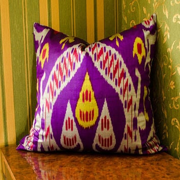 20 x 20 ikat satin pillow cover, purple yello colored ikat pillow cover cushion case, ikats, pillows, purple ikat, purple pillows, purple