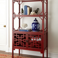 "Barclay Butera Lifestyle Red ""Peking"" Bookcase - Horchow"