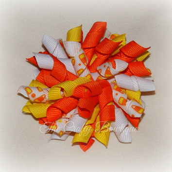 Candy Corn Bow ~ Halloween Korker Bow ~ Korker Pigtail Bows ~ Halloween Candy Bow ~ Halloween Hair Bow ~ Orange & Yellow Bow ~Candy Hair Bow