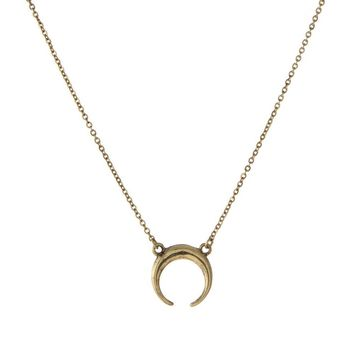Dainty Gold Tone Necklace Featuring a Crescent Moon Pendant