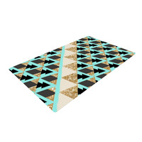 "Nika Martinez ""Glitter Triangles in Gold & Teal"" Blue Brown Woven Area Rug"