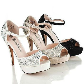 Vice107 By Blossom, D'Orsay Rhinestone Studded Platform Ankle Strap Sandals
