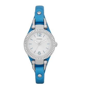 FOSSIL® Blue Leather Strap Watch Ladies Watch